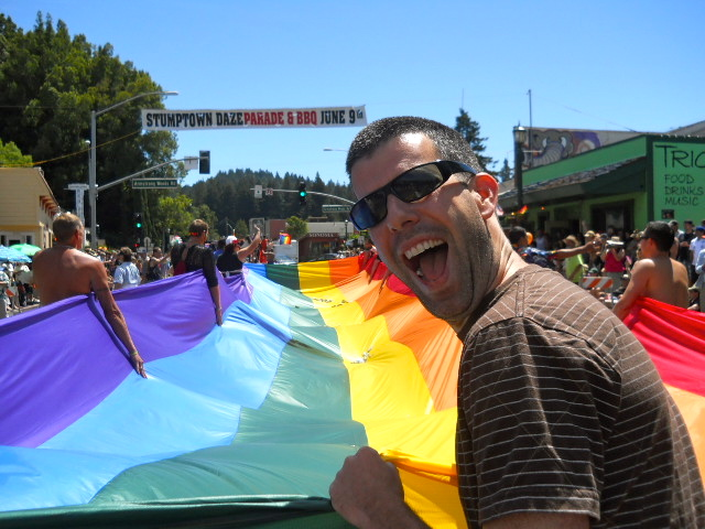 As part of the traditon, a giant rainbow flag is part of Gay Pride Parade.