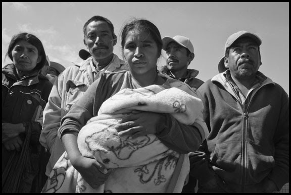 VICENTE GUERRERO, BAJA CALIFORNIA NORTE, MEXICO - 4JUNE15 - Farm workers in the San Quintin Valley in Baja California demonstrate their support for their independent association, The Alianza, as leaders try to negotiate wage increases with the government.  The workers are almost all indigenous Mixtec and Triqui migrants from Oaxaca, in southern Mexico.  Indigenous women wait to hear the results of the dialogue.Copyright David Bacon