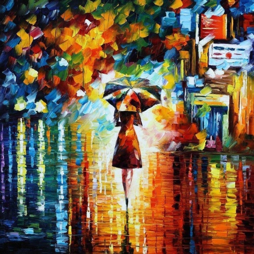 A woman walking alone with an umbrella.