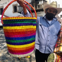 Handmade: Colorful Basket Made in Guerrero